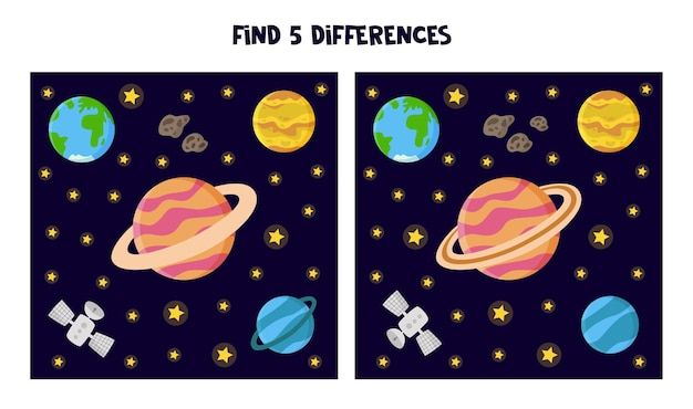 그림 사이의 차이점 5 개를 찾으십시오. 아이들을위한 공간 테마 워크 시트.