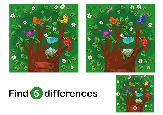 Find 5 differences education game for children colorful cartoon birds on the tree