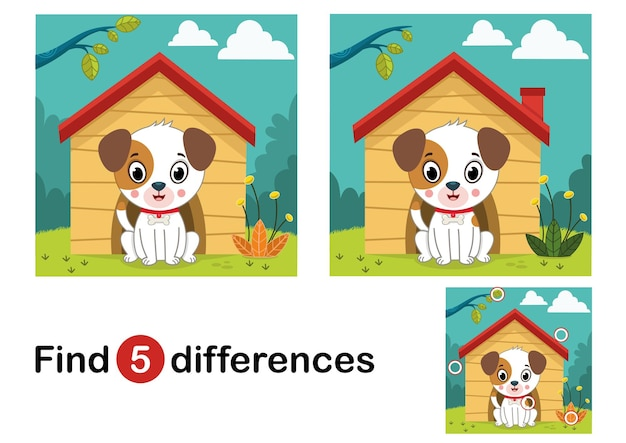 Find 5 differences education game for children dog in the nature vector illustration