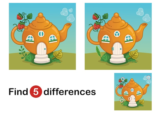 Find 5 differences education game for children fairy tale house vector illustration