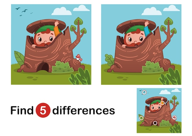 Find 5 differences education game for children gnome in the nature vector illustration