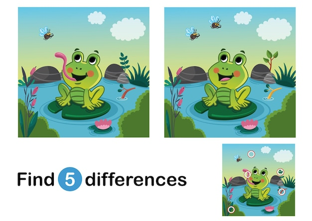 Find 5 differences education game for children a happy frog in the nature