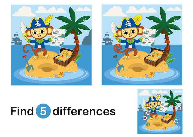 Find 5 differences education game for children pirate monkey on the island vector illustration