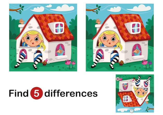 Find 5 differences education game for children vector illustration