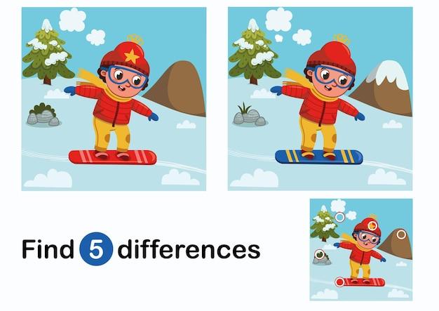 Найди 5 отличий, обучающая игра для детей, мальчик-лыжник на природе. векторная иллюстрация