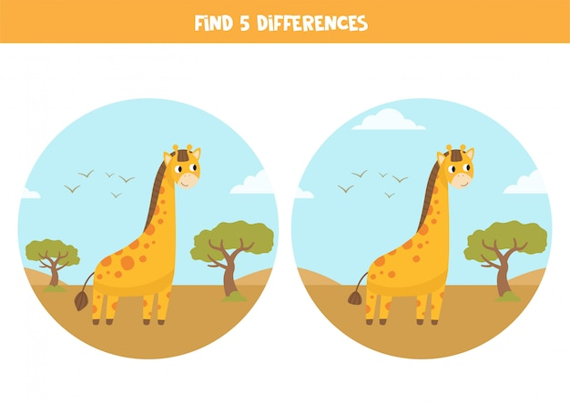 Find 5 differences. educational game with cartoon giraffes.