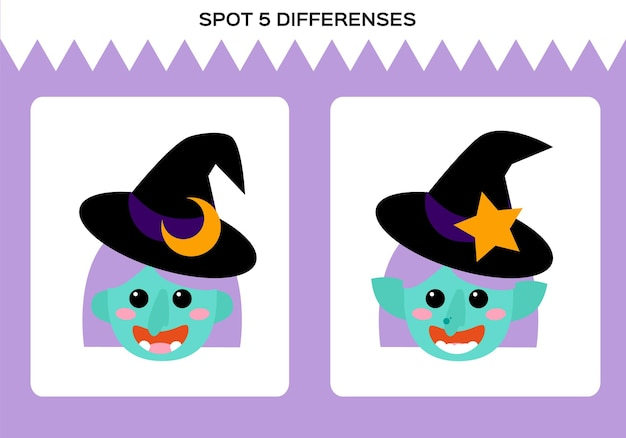 Find 5 differences. happy halloween game. witch education game for children. worksheet for kids. vector.
