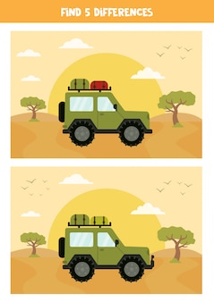 Find 5 differences between the pictures. safari landscape.