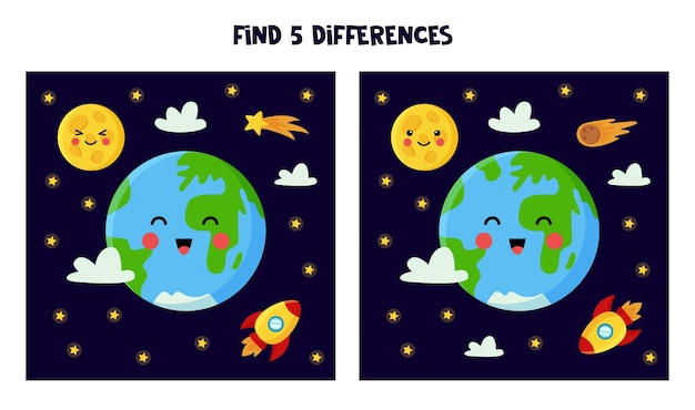 Find 5 differences between pictures. space themed worksheet for kids.