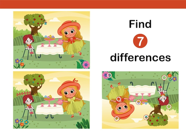 Find 7 differences education game for children tea party vector illustration