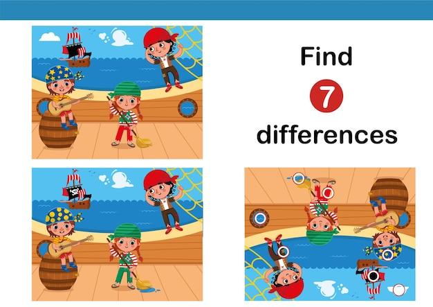 작은 해적 벡터 일러스트 레이 션을 갖춘 어린이를위한 7 차이점 교육 게임 찾기