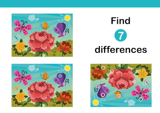 Find 7 differences education game for kids happy butterflies flying over the flowers in springtime