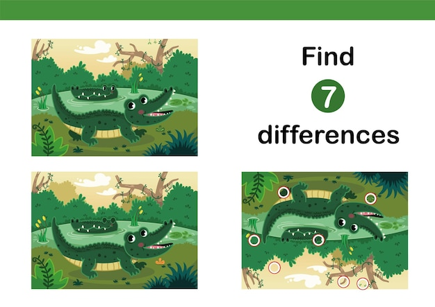 Find 7 differences education game for kids happy crocodiles in a swamp vector illustration