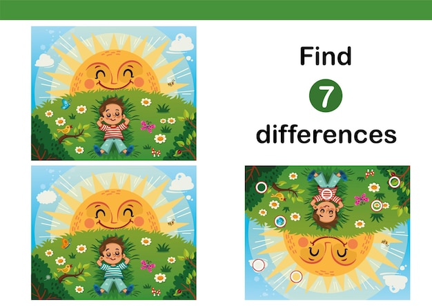 Find 7 differences education game for kids little boy enjoying the sun on a grass field