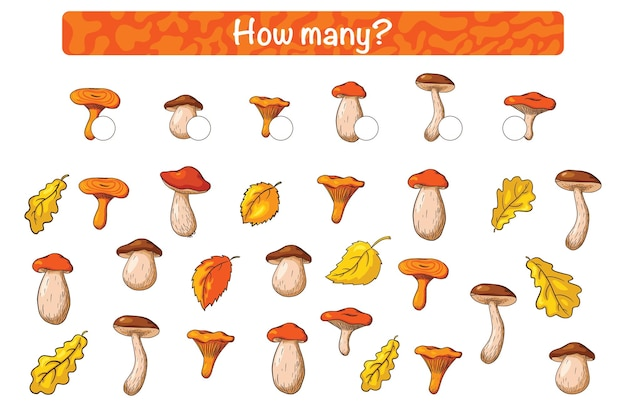 Найди и посчитай детскую развивающую игру с лесными грибами. мультяшном стиле. сколько считаешь для детей съедобных грибов. дошкольная головоломка. учебный лист. премиум векторы