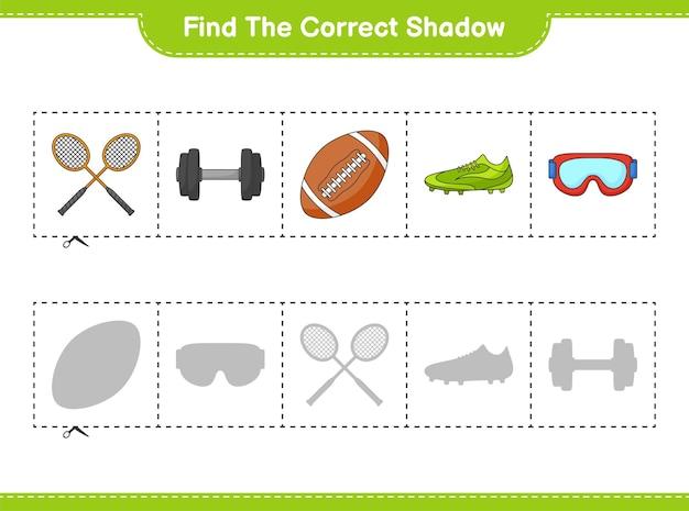 Найдите и сопоставьте правильную тень ракеток для бадминтона, гантелей, очков для регби, очков и обуви.