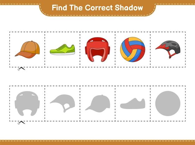 Найдите и сопоставьте правильную тень велосипедного шлема боксерские перчатки кепка шляпа волейбол и кроссовки