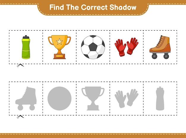 Найдите и сопоставьте правильную тень вратарских перчаток с мячом bottle trophy ball и роликовых коньков