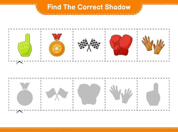 Найдите и сопоставьте правильную тень боксерских перчаток и перчаток для гольфа с флажками из пенопласта