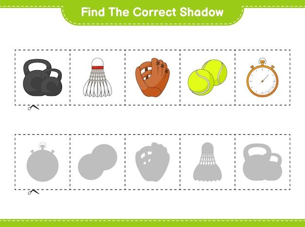 Найдите и сопоставьте правильную тень перчатки, секундомера, гантели, теннисного мяча и волана.