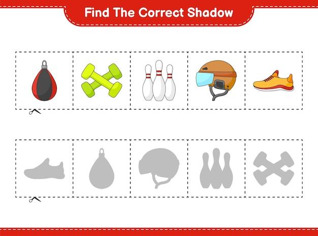 Найдите и сопоставьте правильную тень гантелей для боулинга и боксерской груши в кроссовках для бега на шлеме