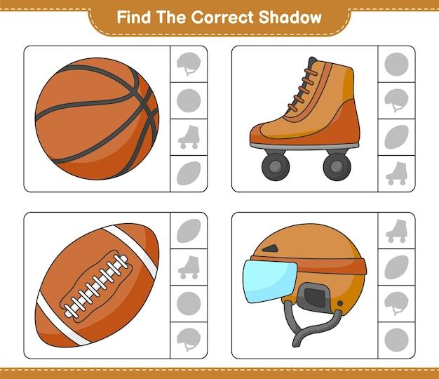하키 헬멧 롤러 스케이트 농구와 축구공의 정확한 그림자를 찾아 일치시킵니다.