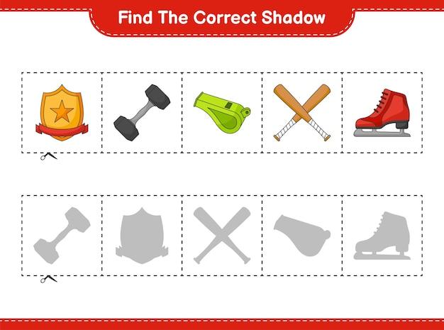 Найдите и сопоставьте правильную тень коньков, свистка, гантели, бейсбольной биты и трофея.