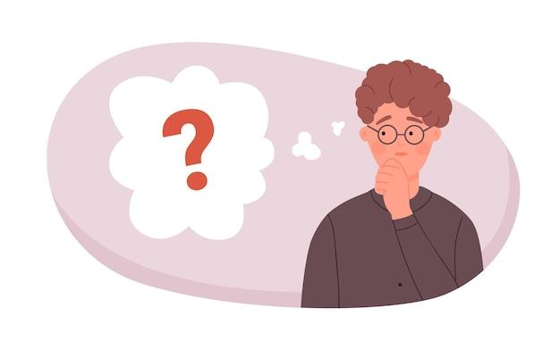 勉強の仕事の問題について考えている眼鏡をかけたオタクの学生に質問するための答えのアイデアを見つける