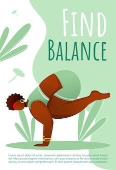 Find balance template. active and healthy lifestyle. yoga pose.