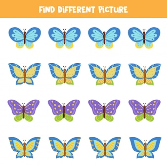 Find butterfly which differs from others. logical game for kids.