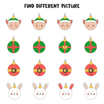 Find christmas ball which is different from others. worksheet for kids.