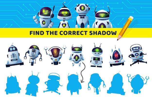 Find correct robot shadow, kids game or puzzle, brain activity and leisure entertainment