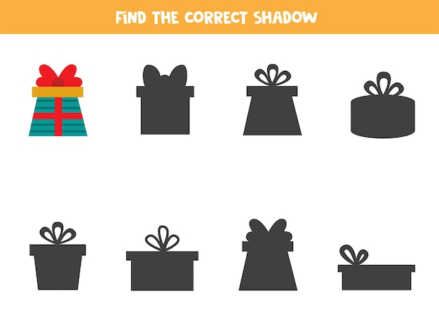 Find the correct shadow of christmas present educational logical game for kids