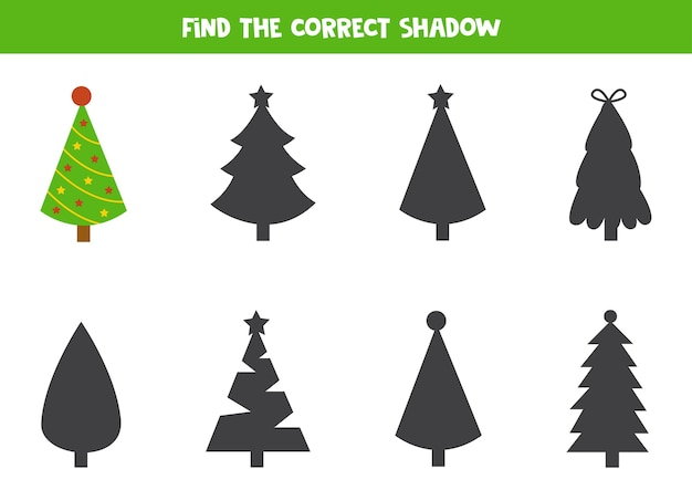 Find the correct shadow of christmas tree educational logical worksheet for preschoolers