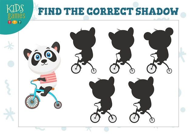 Find the correct shadow for cute cartoon panda educational preschool kids game.  five silhouettes for shadow matching puzzle