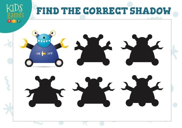 Find the correct shadow for cute cartoon robot educational preschool kids mini game. vector illustration with 5 silhouettes for shadow matching quiz