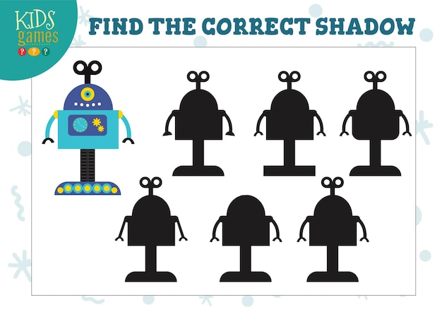 Find the correct shadow for cute cartoon robot educational preschool kids mini game.  with 6 silhouettes for shadow matching quiz