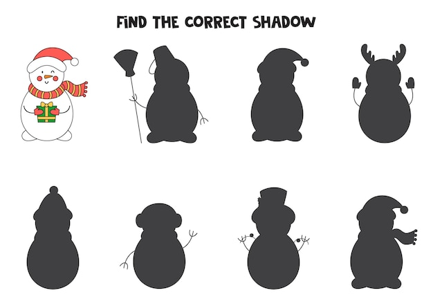 Find correct shadow of cute cartoon snowman. educational logical game for kids.