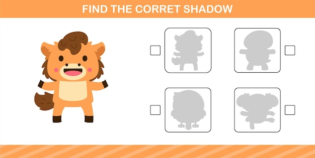 Find the correct shadow of cute horse,educational game for kids age 5 and 10 year old