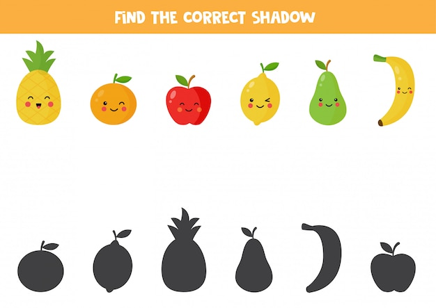 Find the correct shadow of cute kawaii fruits.