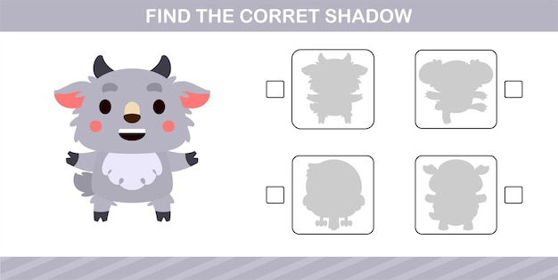 Find the correct shadow of cute sheep,educational game for kids age 5 and 10 year old