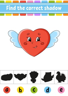 Find the correct shadow. education developing worksheet. activity page. valentine's day.