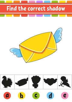 Find the correct shadow. education developing worksheet. activity page.