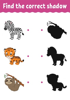 Find the correct shadow. education developing worksheet. matching game for kids. activity page.