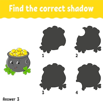 Find the correct shadow. education developing worksheet. st. patrick's day.