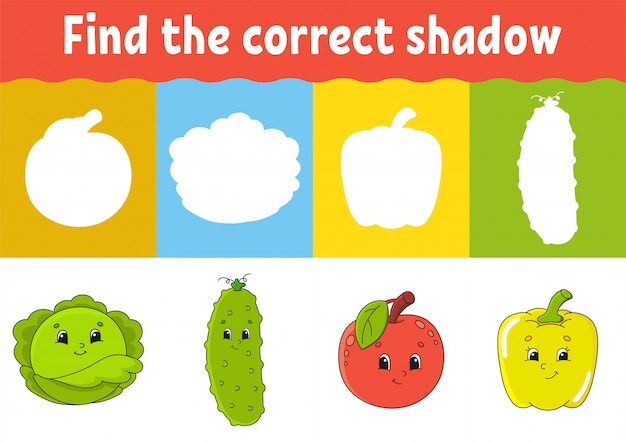 Find the correct shadow. education developing worksheet.
