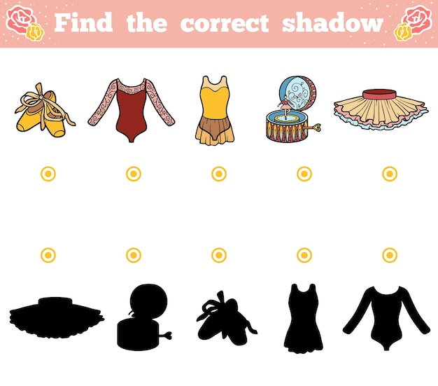 Find the correct shadow, education game for children. ballet items