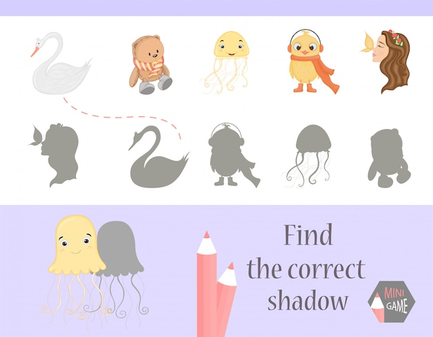 Find the correct shadow, education game for children. cute cartoon animals and nature.