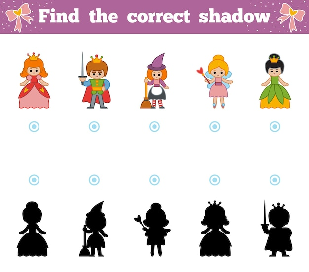 Find the correct shadow, education game for children. set of cartoon fairy-tale characters