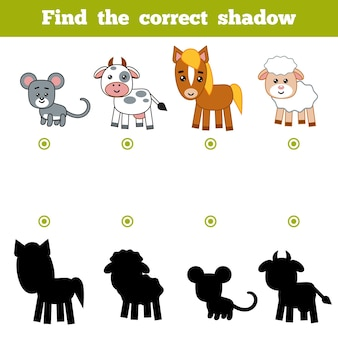 Find the correct shadow, education game for children. set of cartoon farm animals